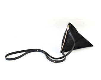 Celeste - Handmade Black Hair On Hide Leather Shoulder Bag Purse SS17