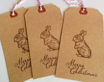 6 Kraft Tag Bunny Rabbit Merry Christmas Hand Stamped Manilla Gift Favour Tags with Baker's Twine