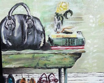 The Entry Way Acrylic Painting Red Shoes Black Satchel Green Table