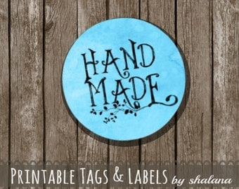 "Printable PDF 1.5 inch Circle Labels - Whimsical ""Hand Made"" Text on TURQUOISE Blue Watercolor Background - Great for Craft Shows and Gifts"