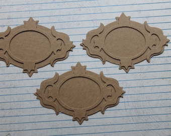 "3 Frame / Nameplate two piece Bare chipboard Diecuts 3 7/8"" wide x 2 5/8"" tall"