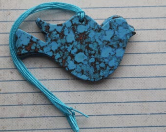 26 Bird Tags Bright Turquoise Rust patterned paper over chipboard