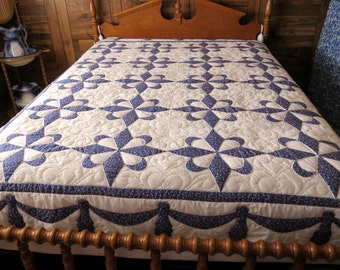 Full Size Quilt, Handmade Quilt, Handquilted Quilt, Blue and White Quilt, Star and Crescent Quilt, Art Quilt