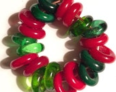 20 Shades of Green and Red Spacer Beads for Pandora Style Bracelets