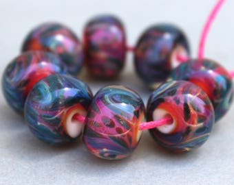 Borosilicate Beads Dark Pink and Purple and Blue Swirl
