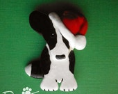 Cardigan Welsh Corgi Brindle Santa Brooch Ornament. Artist Hand-Made OOAK Dog Art. Christmas.