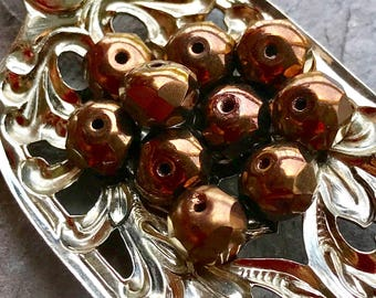 ANTIQUE COPPER - Beautiful Faceted Rondelle Czech Glass Beads - 10 Beads