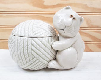 Vintage Fitz & Floyd Cat Snip String Yarn Holder Dispenser Sewing Knitting 1977 Japan Ceramic