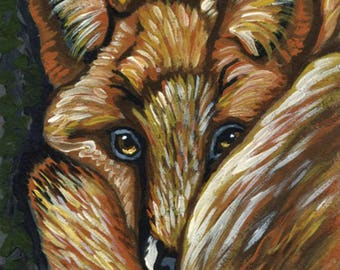 ACEO ATC Red Fox Wildlife  Original Painting Art-Carla Smale