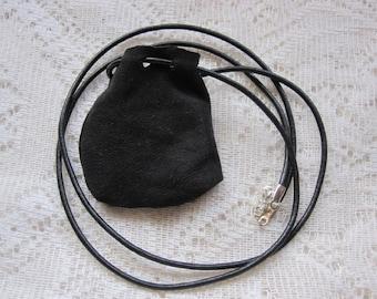 Medicine Bag, Black Leather Medicine Bag, Onyx  Worrystone, Gift Men, Women, Sister, Brother, Healing, Help to Stop Smoking