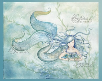 Collecting Stars Mermaid Print from  Original Watercolor Painting by Camille Grimshaw
