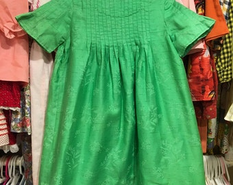 1960s Green Floral Dress 4T/5T