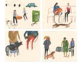 Original Art | Home Decor | Scenes From the Vets Waiting Room | Series of 4 original illustrations | Faye Moorhouse