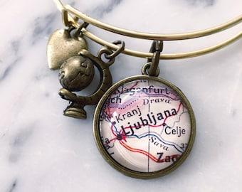 Ljubljana Vintage Map Charm Bangle Bracelet - Adjustable Bangle Bracelet - Stacking Bracelet - Slovenia Jewelry - Wanderlust - Travel