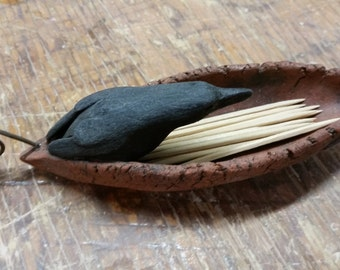 Ceramic Crow Toothpick Holder
