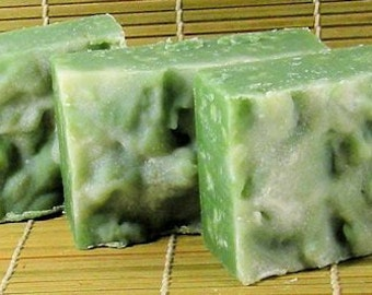 BAMBOO Cold Process Soap with Olive Oil and Shea Butter - Vegan ((Clearance))