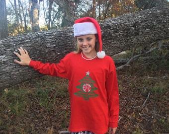Girls Monogrammed Christmas shirt - monogrammed long sleeve Christmas Tree shirt