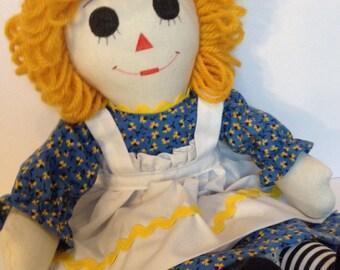 "Raggedy Ann Doll Handmade 15"" Blue Dress Yellow Hair custom order available"