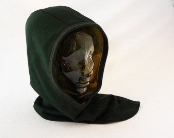 Hooded Cowl in Teal Wool with Warm Gold Dupioni Silk Lining: Women's Hats, Winter Hood, Hooded Scarves, Festival Hood, Hoodie Women, Scarf