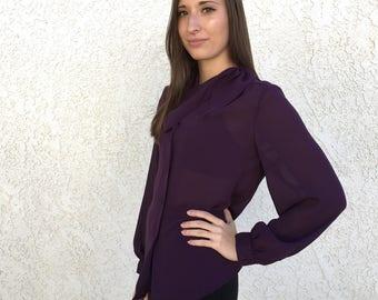 Vintage 1980's silky sheer plum neck tie blouse