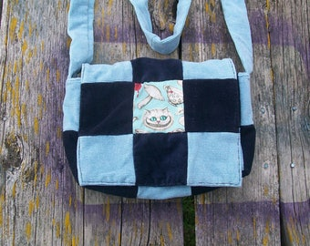 Blue Black Cheshire Cat Wonderland Recycled Corduroy Crossbody Purse Ready to Ship