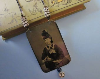 Antique Tintype Necklace Assemblage Miss Eliza