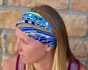 Blue Black White Sport Headband / Running Headband / Geometric Stretch Headband/ Comfortable Hairband/ Women's Gift Best Selling Headband