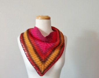 Little Laramie Medium-Sized Neckerchief Wrap 100% Alpaca, Bright Pink, Rust, Golden Yellow - Wooden Buttons - Headscarf/Headwrap, Neckwarmer
