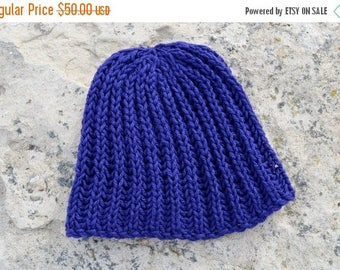 May Sale - 20% off Hand Knit Hat. Cobalt Hat. Traditional Surf or Ski Beanie Hand Knit in Organic Merino Wool. Textured Knit. NAVIGATOR Desi