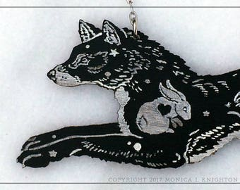 Celestial Wolf, engraved and stained alder wood pendant