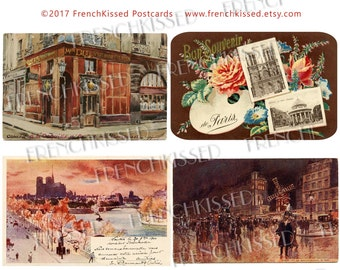 Saints and Sinners Paris in Red Pinks Sepia Bon Souvenir Cabaret Moulin Notre Dame Antique French Postcards Digital Printables