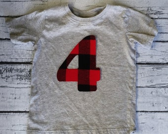 Buffalo Plaid, Extra Large Birthday Number, Fabric Iron On Applique,Other Numbers Available