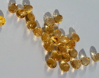 Citrine Beads Faceted Onion Candy Kiss Briolettes Gemstone Teardrops 5mm to 6mm x 6.5mm, Citrine Tear drops, Natural Orange (4 gems)