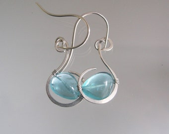 Blue Apatite Sterling Earrings, Glossy Turquoise Silver Dangles, Small Wire Wrapped Curled Hoops, Artisan Made, Original Design, Signature