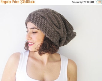 20% WINTER SALE Brown Slouchy Hat with Pon Pon by Afra