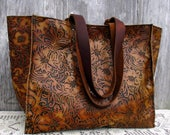 """RESERVED for Lew Large Leather Tote Bag in Embossed """"Tooled"""" Leather by Stacy Leigh"""