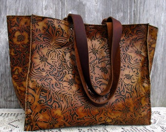 """Large Leather Tote Bag in Embossed """"Tooled"""" Leather by Stacy Leigh"""