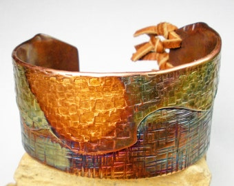 Hammered Copper Cuff, Rustic Copper Jewelry, Fold Formed Cuff, Colorful Heat Patina, Handcrafted Copper Jewelry, Textured Copper- Ascending
