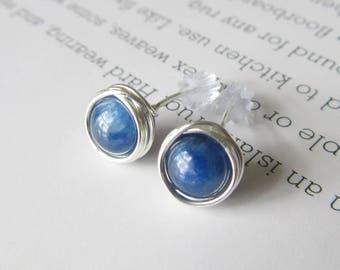 Kyanite wire wrapped in Sterling Silver stud earrings