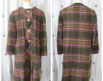 Vintage Bromleigh Plaid Wool Coat, Pink and Green, Buttons, Womens Knee Length Winter Coat, Large, Extra Large