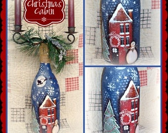 Apple Tree Cottage Original Design E Pattern - Christmas Cabin Candlelabra