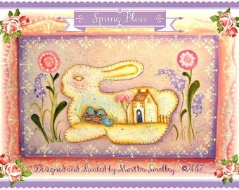 Apple Tree Cottage Original Design E Pattern - Spring Bliss Bunny Plaque