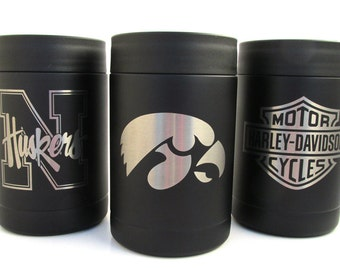 Black Stainless Steel Cozy - Choose Your Team - Can Cooler and Bottle Cozy