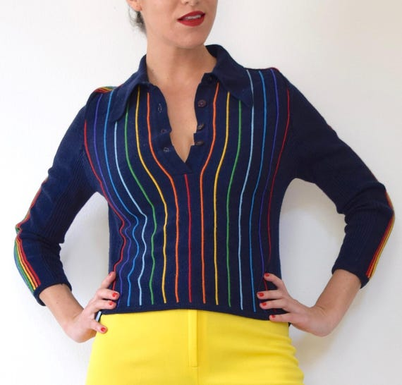 SPRING SALE/ 20% off Vintage 70s 80s Rainbow Striped Navy Blue Pullover Cropped Collared Sweater (size small, medium)
