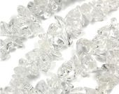 100 Strands CLEAR QUARTZ CHIPS medium chip with 0.5-1.5mm hole - Free Shipping
