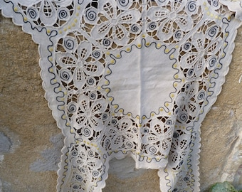 Antique Vintage old French handmade linen embroidered /lace tablecloth /center of table / runner