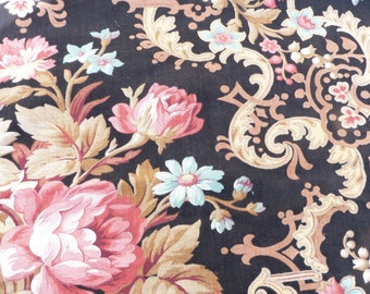 Vintage Antique French Victorian 1890s faded printed cotton fabric  Floral  /timeworn