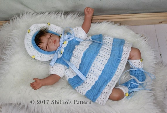 KNITTING PATTERN For Lacey Layers Baby Dress, Bonnet & Bootees PDF 92 Digital Download