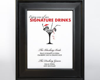 Signature Drink Sign Printable Custom DIY You Print Your Menu or Cocktails Reception Sign Madly Modern Quirky