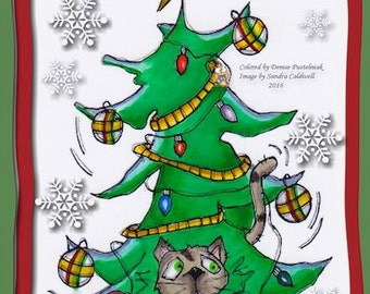 97 Cat in the Christmas Tree Digi Stamp